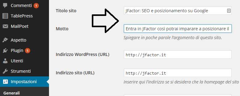 Come impostare il titolo del sito e la descrizione