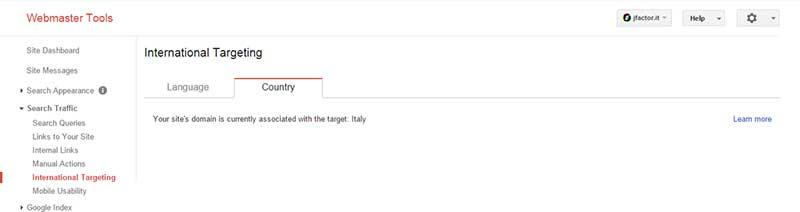 Impostare l'International Targeting con Google Webmaster Tool